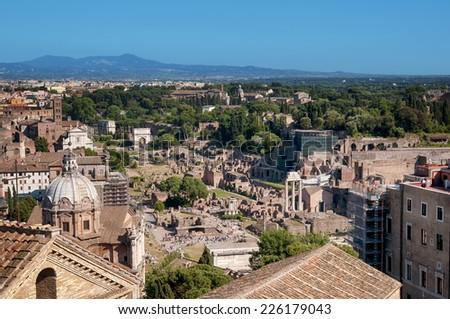 Ariel view of Roman Forum. Rome - Italy.   - stock photo