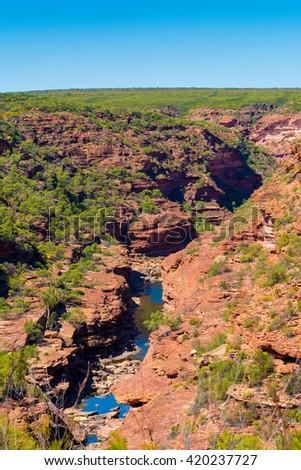 Ariel view of  Z-Bend lookout at Kalbarri national park. West Australia. select focus - stock photo