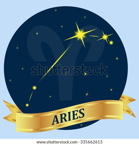 Aries. Constellation and zodiac sign in the blue circle. Gold ribbon. - stock photo