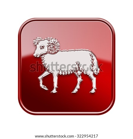 Aries zodiac icon red, isolated on white background - stock photo
