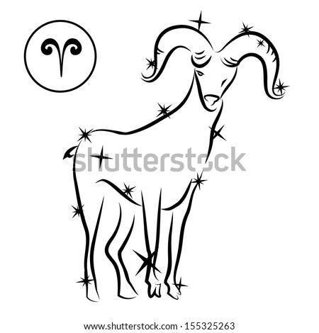 Aries/Zodiac sign made of stars in black and white, isolated on white background  - stock photo