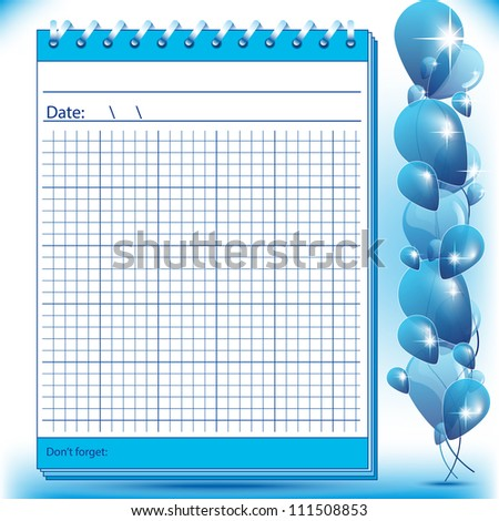 Arithmetic block notes in blue shades with balloons - stock photo
