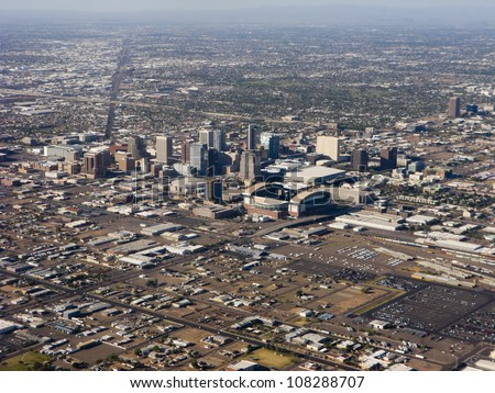 Arizona capital city of Phoenix; bird-eye view of downtown - stock photo