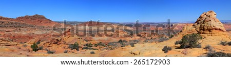 Arizona desert panorama at south Coyote Buttes, USA. - stock photo