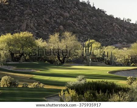 Arizona desert style golf course community setting - stock photo