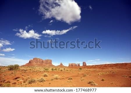 Arizona Desert Valley. Monuments Valley Area, Arizona, United States. - stock photo