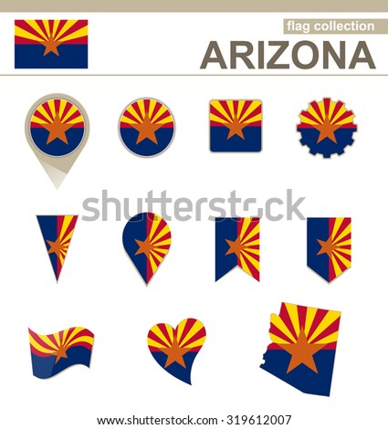 Arizona Flag Collection, 12 versions, Rasterized Copy - stock photo