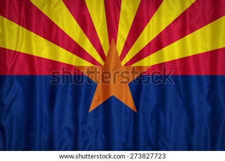 Arizona flag pattern with a peace on fabric texture,retro vintage style - stock photo