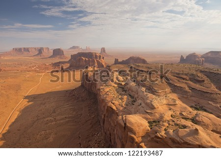 Arizona Monument Valley aerial sky view from balloon - stock photo