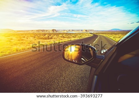 Arizona Scenic Drive. Driving Down the Road During Scenic Summer Sunset. Summer Trip. - stock photo