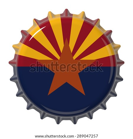 Arizona State flag on bottle cap. 3D rendering - stock photo