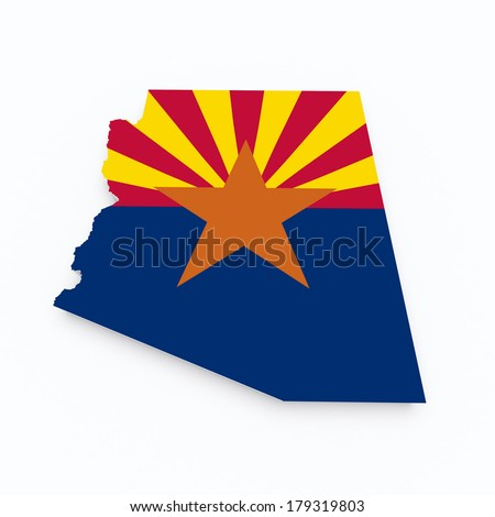 arizona state flag on 3d map - stock photo