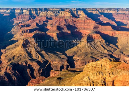 Arizona sunset Grand Canyon National Park Yavapai Point USA - stock photo