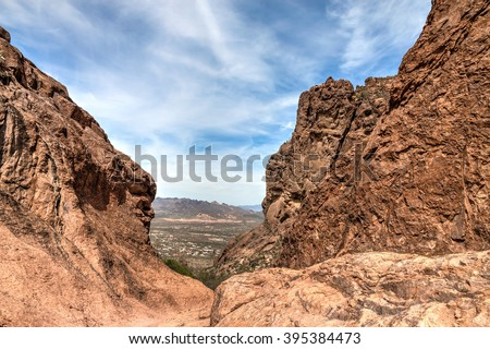 Arizona-Superstition Mountain Wilderness-Siphon Draw Trail. This steep trail, that begins in the Lost Dutchman State Park, climbs to high elevation, where numerous scenic vistas greet the hiker. - stock photo