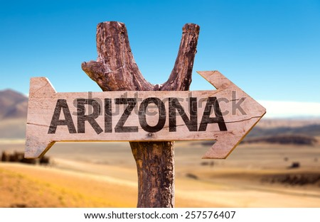Arizona wooden sign with a desert background - stock photo