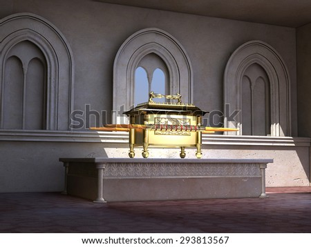 Ark of the Covenant on an altar - stock photo