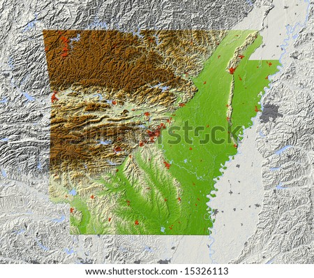 Arkansas. Shaded relief map, with major urban areas and rivers, surrounding territory greyed out. Colored according to elevation. Clipping path for the state area included. Data source: NASA - stock photo