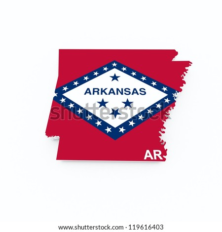 arkansas state flag on 3d map - stock photo