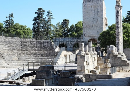 Arles Roman Theater ruins in the center of city Arles (A UNESCO World Heritage Site), France - stock photo