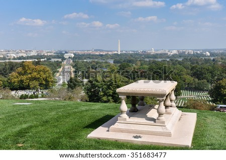 Arlington cemetery with view over Washington Monument, Washington D.C., USA. - stock photo