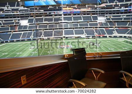 ARLINGTON - JAN 26: A view of Cowboys Stadium in Arlington, Texas from one of Jerry Jones' luxury suites. Sight of Super Bowl XLV. Taken January 26, 2011 in Arlington, TX. - stock photo