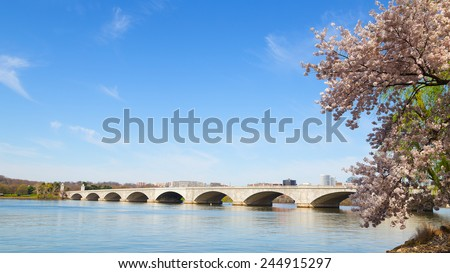 Arlington Memorial Bridge during cherry blossom festival in Washington DC. The bridge over Potomac River in the US capital. - stock photo