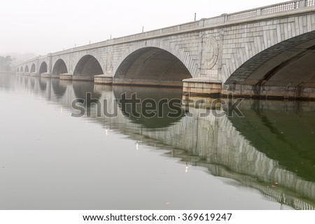 Arlington Memorial Bridge in fog - Washington DC USA - stock photo