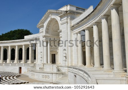 Arlington National Cemetery in Washington DC - Memorial Amphitheater at Tomb of the Unknowns - stock photo