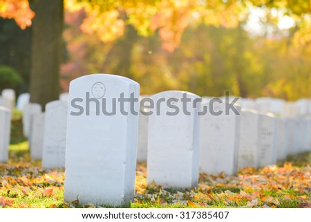 Arlington National Cemetery near to Washington DC, in Autumn  - stock photo