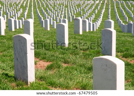 Arlington National Cemetery, rows of graves - stock photo