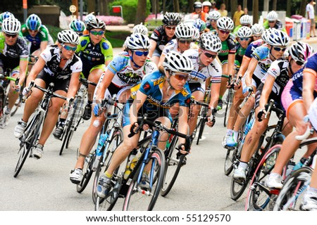 ARLINGTON, VIRGINIA - JUNE 13: Cyclists compete in the U.S. Air Force Cycling Classic on June 13, 2010 in Arlington, Virginia - stock photo