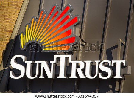 ARLINGTON, VIRGINIA, USA - FEBRUARY 21, 2013: Suntrust Bank sign on branch building. - stock photo