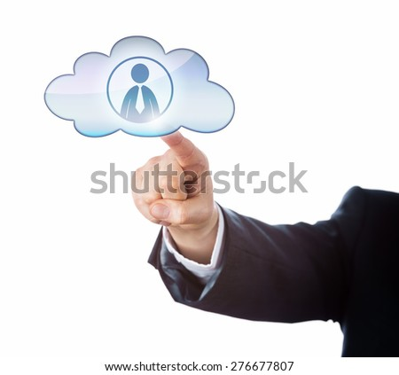 Arm in dark business suit reaching out to touch an office worker icon in a floating cloud symbol. Cutout isolated on white background. Metaphor for human resources combined with smart computing. - stock photo