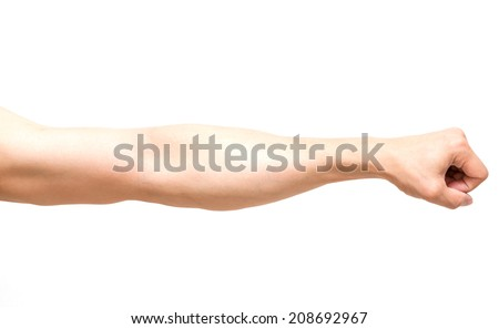 Arm in fist action on white background, body par - stock photo
