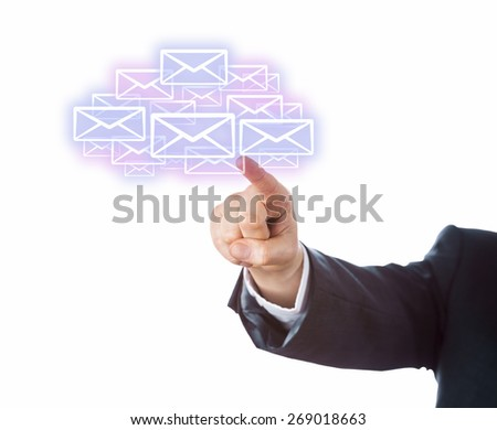 Arm of a business person aiming index finger at many email icons forming a cloud. Technology metaphor for mobile computing. Transparent touch screen interface. Copy space. Cutout on white background. - stock photo