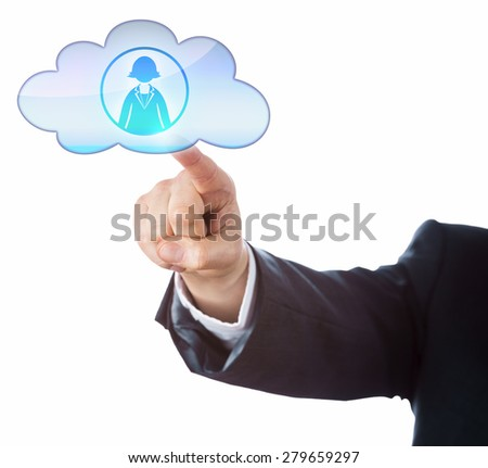 Arm of business person connecting with female office worker in the cloud by touch. Technology metaphor for mobile computing, human resources and gender issue. Cutout isolated on white background. - stock photo