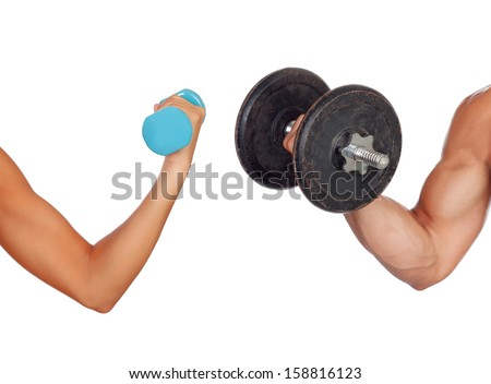 Arm of man and woman lifting weights isolated on a white background - stock photo