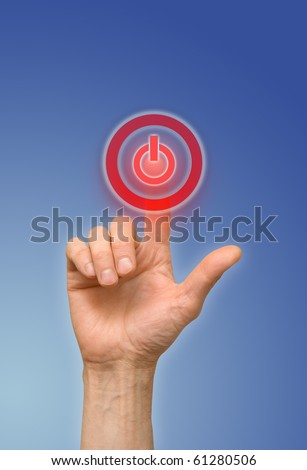arm press on red button - stock photo
