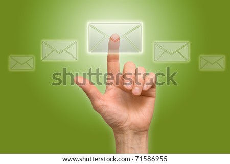 arm press the button (icon of letter) - stock photo