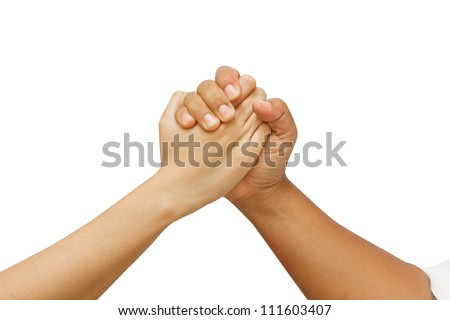 arm wrestling between man and woman  - stock photo