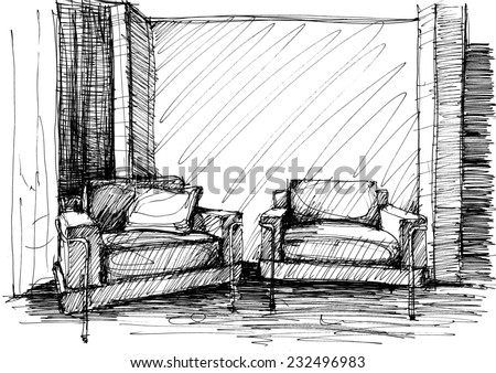 Armchair against a wall monochrome drawing (sketch image) - stock photo