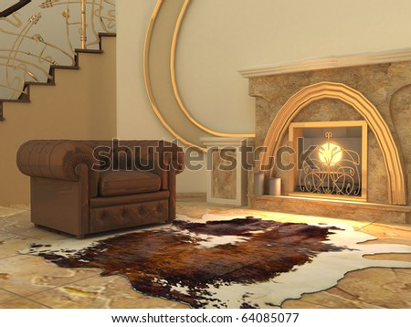 Armchair and fell by fireplace in modern interior - stock photo