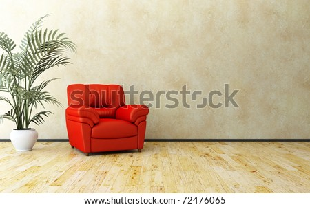 Armchair and palm - stock photo