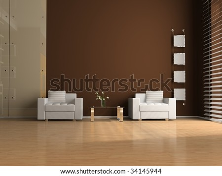 Armchair and table in the room - stock photo