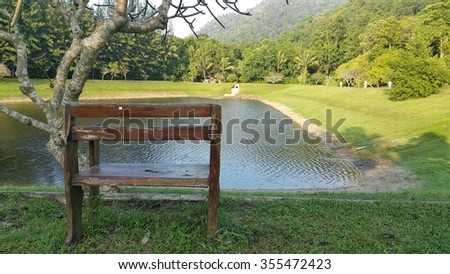 Armchair beside a marsh in the morning of Thailand. - stock photo