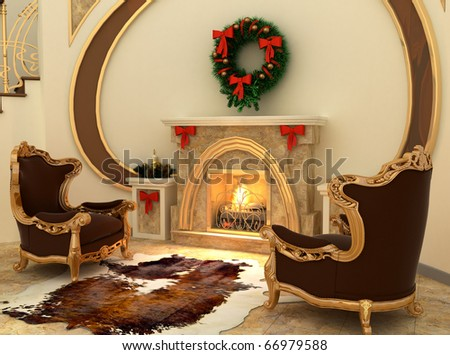 Armchairs by fireplace with Christmas-tree decorations in comfortable interior - stock photo