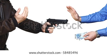 armed robbery backgound, casual man and businessman on white - stock photo