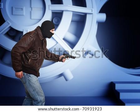armed thief and bank  vault door 3d detail - stock photo