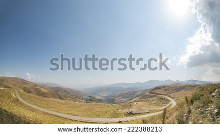 ARMENIA, AUGUST 1, 2014. A panoramic view over a valley between Dilijan and Sevan, Armenia, on August 1st, 2014. - stock photo