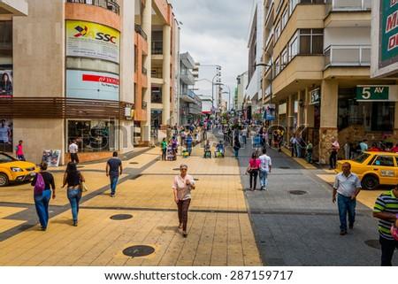 ARMENIA, COLOMBIA - FEBRUARY 23, 2015: Important commercial street one of the city landmarks Centro Comercial de Cielos Abiertos in Armenia - stock photo